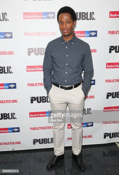 """Hubert Point-DuJour attends the opening night celebration of """"Tiny Beautiful Things"""" at The Public Theater on October 2, 2017 in New York City."""