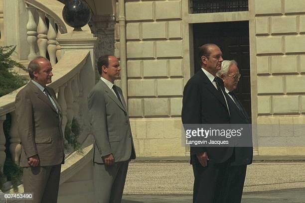 Hubert Vdrine Prince Albert Jacques Chirac and Prince Rainier