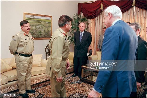 Hubert Vedrine on official visit to Pakistan and India in Islamabad Pakistan on November 02 2001 Hubert Vedrine meets Pervez Musharraf President of...