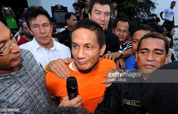 Hubert Webb the son of former Philippine senator Freddie Webb walks out of New Bilibid prison in Muntinlupa south of Manila on December 14 after...