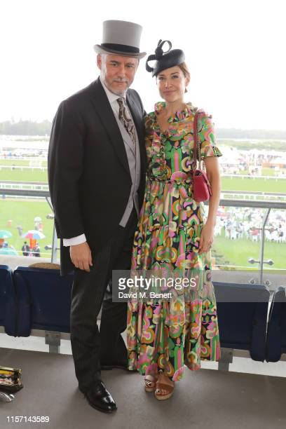 Hubert Zandberg and Claire Forlani on day 3 of Royal Ascot at Ascot Racecourse on June 20 2019 in Ascot England