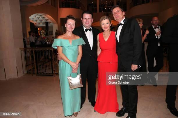 Hubertus Heil and his wife Solveig Orlowski Heike Boese and Matthias Tuexen during the 67th Bundespresseball at Hotel Adlon on November 23 2018 in...