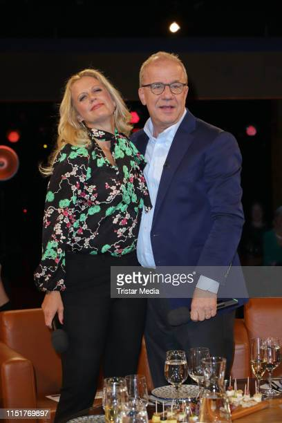 Hubertus Meyer-Burckhardt and Barbara Schoeneberger during the NDR Talk show on May 24, 2019 in Hamburg, Germany.