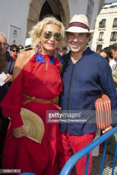 Hubertus Von Hohenlohe and Simona Gandolfi are seen arriving at La Goyesca bullfights on September 1 2018 in Ronda Spain