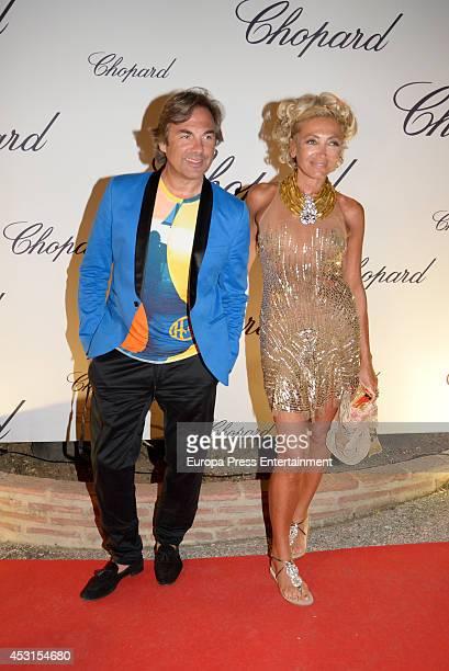 Hubertus Von Hohenlohe and Simona Gandolfi attend the Chopard Party at the Babilonia Restaurant on August 3 2014 in Marbella Spain