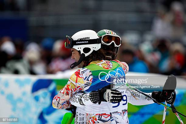 Hubertus Von Hohenlohe of Mexico and Kwame NkrumahAcheampong of Ghana during the Men's Slalom on day 16 of the Vancouver 2010 Winter Olympics at...