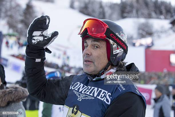 Hubertus von Hohenlohe reacts after his run at the KitzCharityTrophy on January 21 2017 in Kitzbuehel Austria