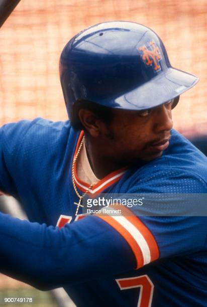 Hubie Brooks of the New York Mets hits in the batting cage prior to an MLB game against the Montreal Expos on April 19 1984 at Shea Stadium in...
