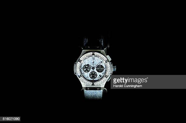 Hublot Big Bang Jeans Diamonds is displayed during Baselworld on March 16 2016 in Basel Switzerland Held annually Baselworld is the most important...
