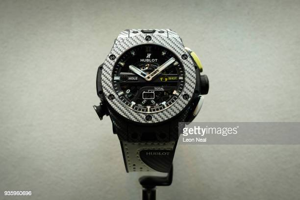 A 'Hublot Big Bang Unico Golf' watch with builtin score counter is seen at the BaselWorld watch fair on March 21 2018 in Basel Switzerland The annual...