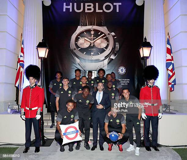 Hublot US Managing Director JeanFrancois Sberro and Chelsea FC attend Hublot x Chelsea FC event in Los Angeles at Sony Pictures Studios on July 28...