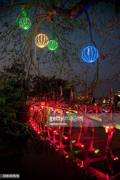 Huc Bridge at Night in Hanoi, Vietnam