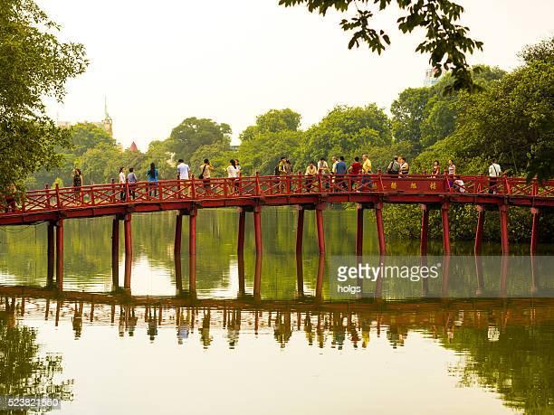 Huc Bridge in Hoan Kiem Lake in Hanoi, Vietnam
