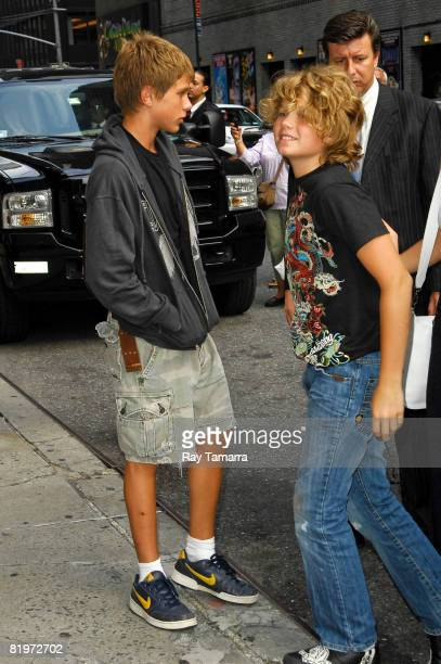 Hud and Speck Mellencamp sons of musician and actor John Mellencamp visit the Late Show with David Letterman at the Ed Sullivan Theater July 17 2008...