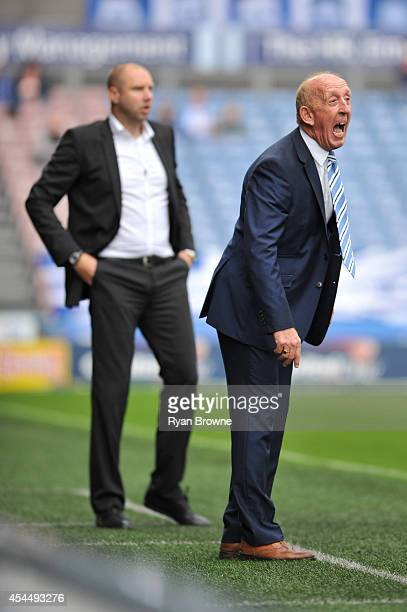 Huddersfield caretaker Mark Lillis right and Charlton Athletic FC Manager Bob Peeters during the Sky Bet Championship match between Huddersfield Town...