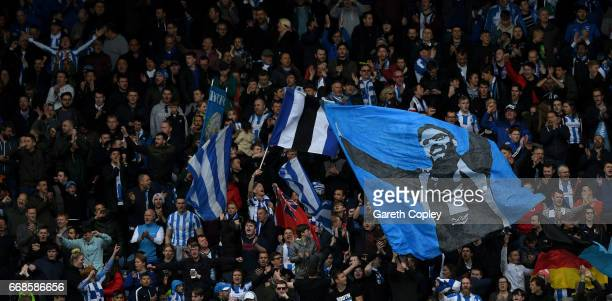 Huddersfield fans during the Sky Bet Championship match between Huddersfield Town and Preston North End at Galpharm Stadium on April 14 2017 in...