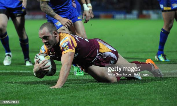 Huddersfield Giants Dale Ferguson scores a try during engage Super League Play Off Match at the Galpharm Stadium Huddersfield