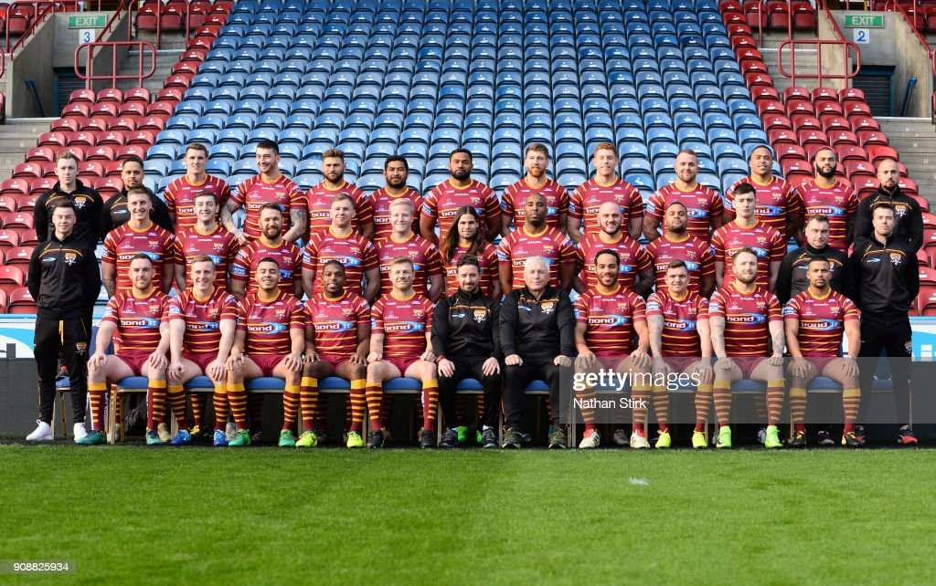 Huddersfield Giants pose for a team photograph during the Huddersfield Giants Media Day at John Smith's Stadium on January 22, 2018 in Huddersfield, England.