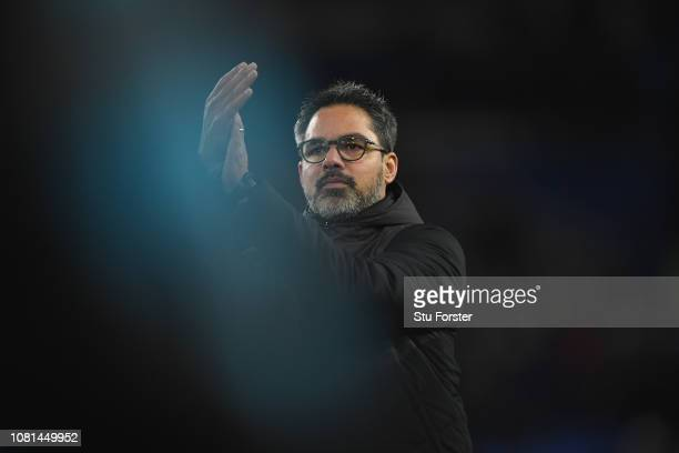 Huddersfield manager David Wagner acknowledges the fans after the Premier League match between Cardiff City and Huddersfield Town at Cardiff City...