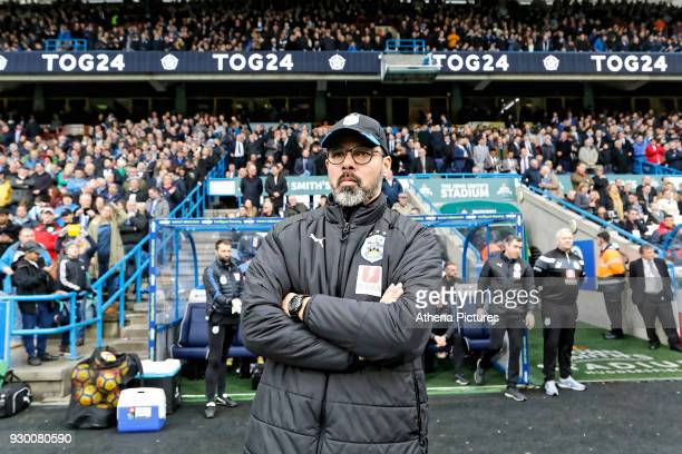 Huddersfield manager David Wagner stands on the touch line during the Premier League match between Huddersfield Town and Swansea City and at the John...