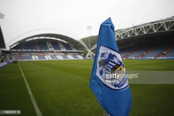 Huddersfield Town corner flag before the game between Huddersfield Town and Montpellier at John Smith's Stadium on July 27, 2019 in Huddersfield,...