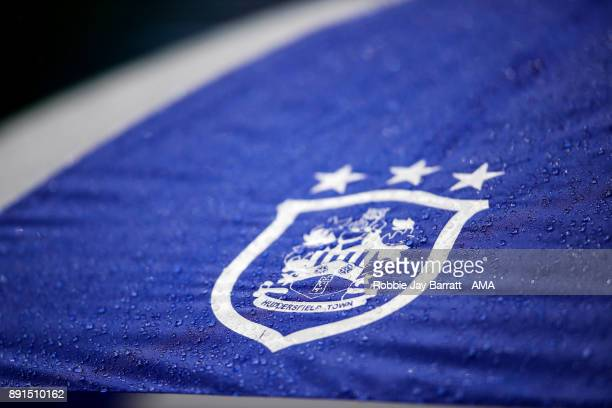 Huddersfield Town emblem is seen on an umbrella during the Premier League match between Huddersfield Town and Chelsea at John Smith's Stadium on...