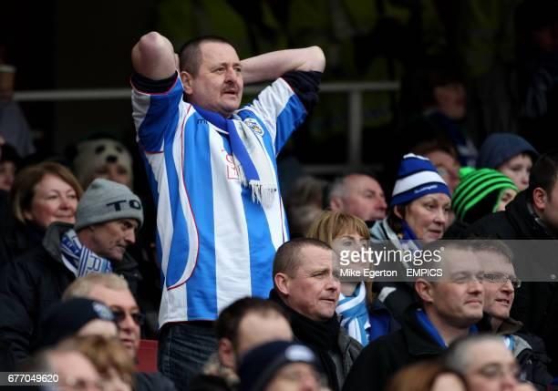 A Huddersfield Town fan stands dejected in the crowd