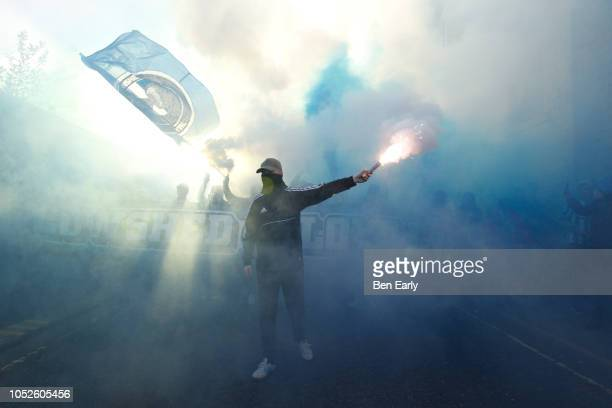 Huddersfield Town fans before the Premier League match between Huddersfield Town and Liverpool FC at John Smith's Stadium on October 20 2018 in...