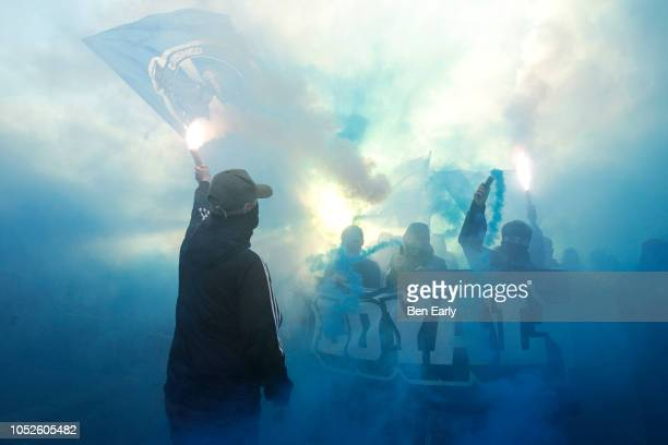 Huddersfield Town fans before the Premier League match between Huddersfield Town and Liverpool FC at John Smith's Stadium on October 20, 2018 in...