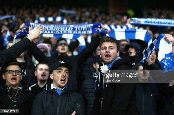 Huddersfield Town fans during the Premier League match between Huddersfield Town and West Ham United at John Smith's Stadium on January 13 2018 in...