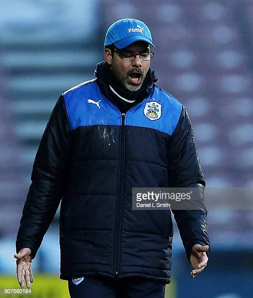 Huddersfield Town FC Head Coach David Wagner gestures during the Sky Bet Championship football match between Huddersfield Town and Cardiff City at...
