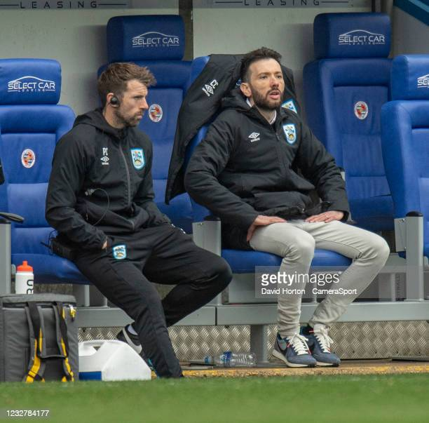 Huddersfield Town Head of Goalkeeping Paul Clements and Huddersfield Town Head Coach Carlos Corberán during the Sky Bet Championship match between...