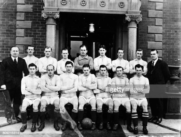 Huddersfield Town left to right back row Herbert Chapman manager James Wood Colin McKay Charlie Slade Sandy Mutch Tom Wilson Captain Billy Watson Sam...