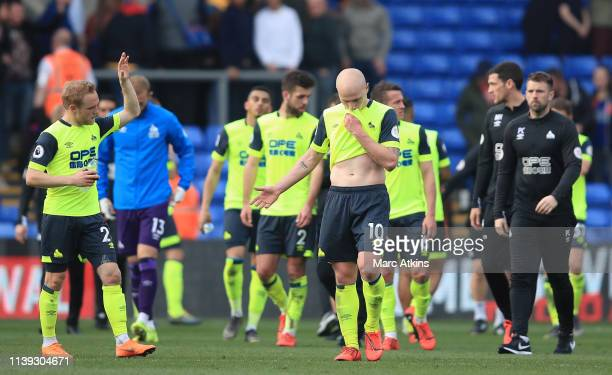 Huddersfield Town look dejected following the Premier League match between Crystal Palace and Huddersfield Town at Selhurst Park on March 30 2019 in...