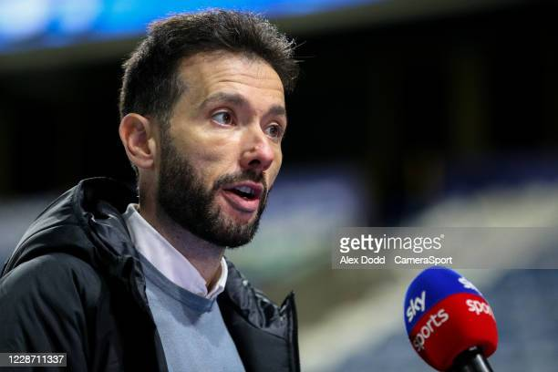 Huddersfield Town manager Carlos Corberán speaks to Sky Sports after the match during the Sky Bet Championship match between Huddersfield Town and...