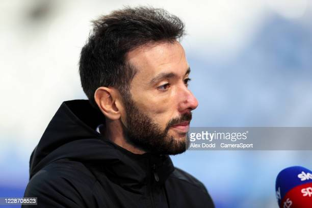 Huddersfield Town manager Carlos Corberán talks to Sky Sports before the game during the Sky Bet Championship match between Huddersfield Town and...