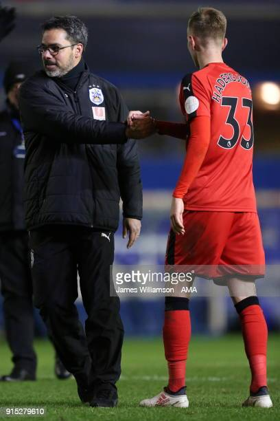 Huddersfield Town manager David Wagner and Florent Hadergjonaj of Huddersfield Town celebrate during The Emirates FA Cup Fourth Round Replay at St...