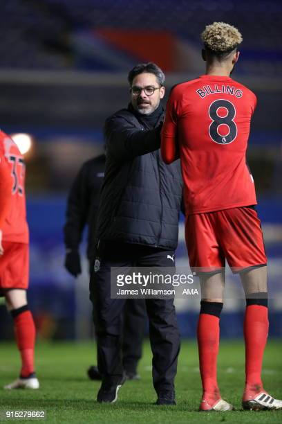 Huddersfield Town manager David Wagner and Philip Billing of Huddersfield Town during The Emirates FA Cup Fourth Round Replay at St Andrews on...
