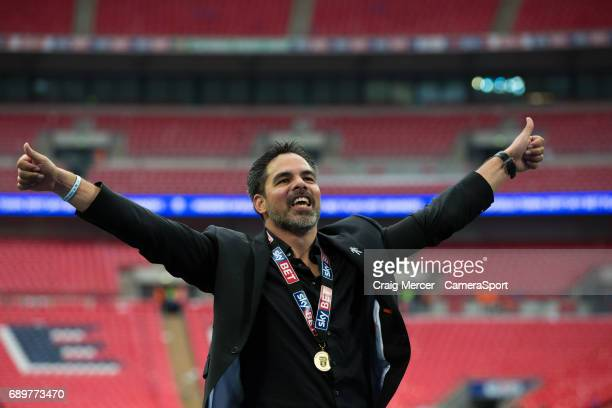 Huddersfield Town manager David Wagner celebrates after the EFL Sky Bet Championship PlayOff Final match between Huddersfield Town and Reading at...