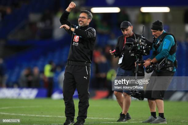 Huddersfield Town manager David Wagner celebrates during the Premier League match between Chelsea and Huddersfield Town at Stamford Bridge on May 9,...