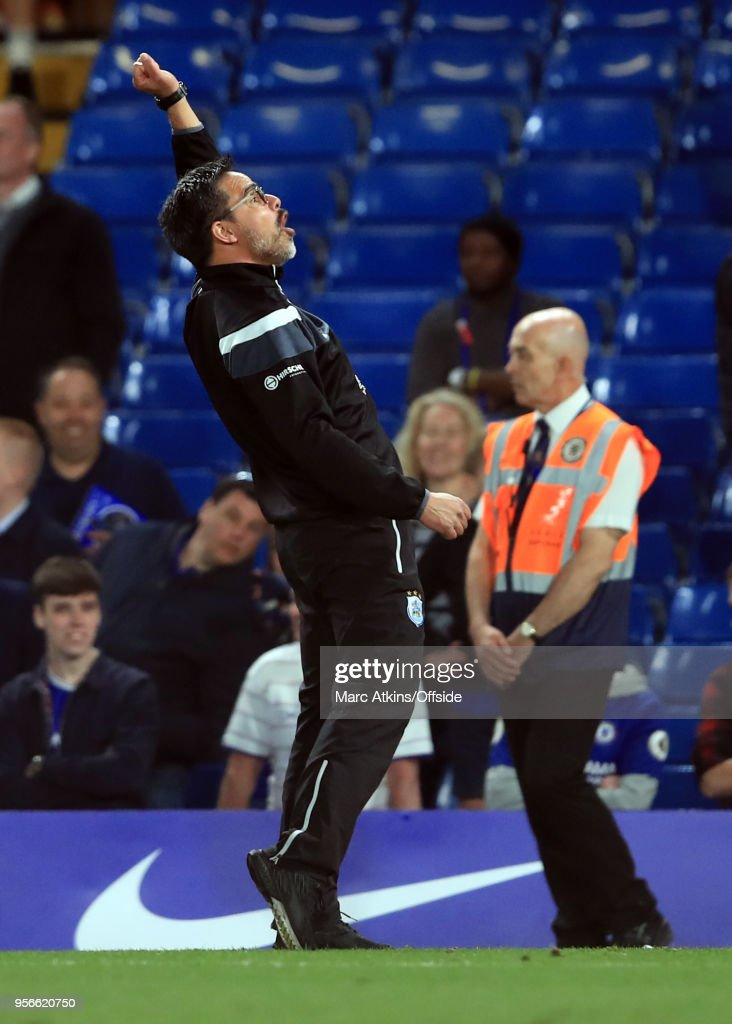 Huddersfield Town manager David Wagner celebrates during the Premier League match between Chelsea and Huddersfield Town at Stamford Bridge on May 9, 2018 in London, England.