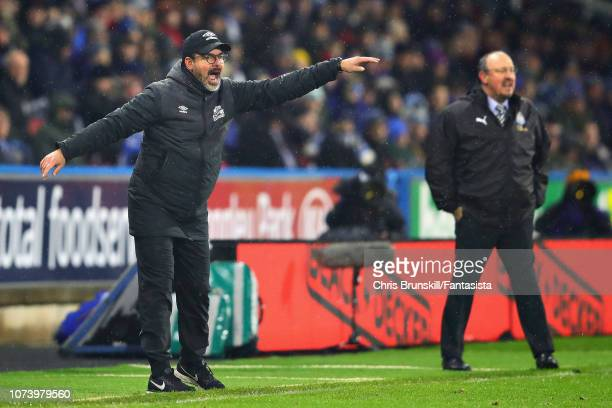 Huddersfield Town manager David Wagner looks on from the sidelines during the Premier League match between Huddersfield Town and Newcastle United at...