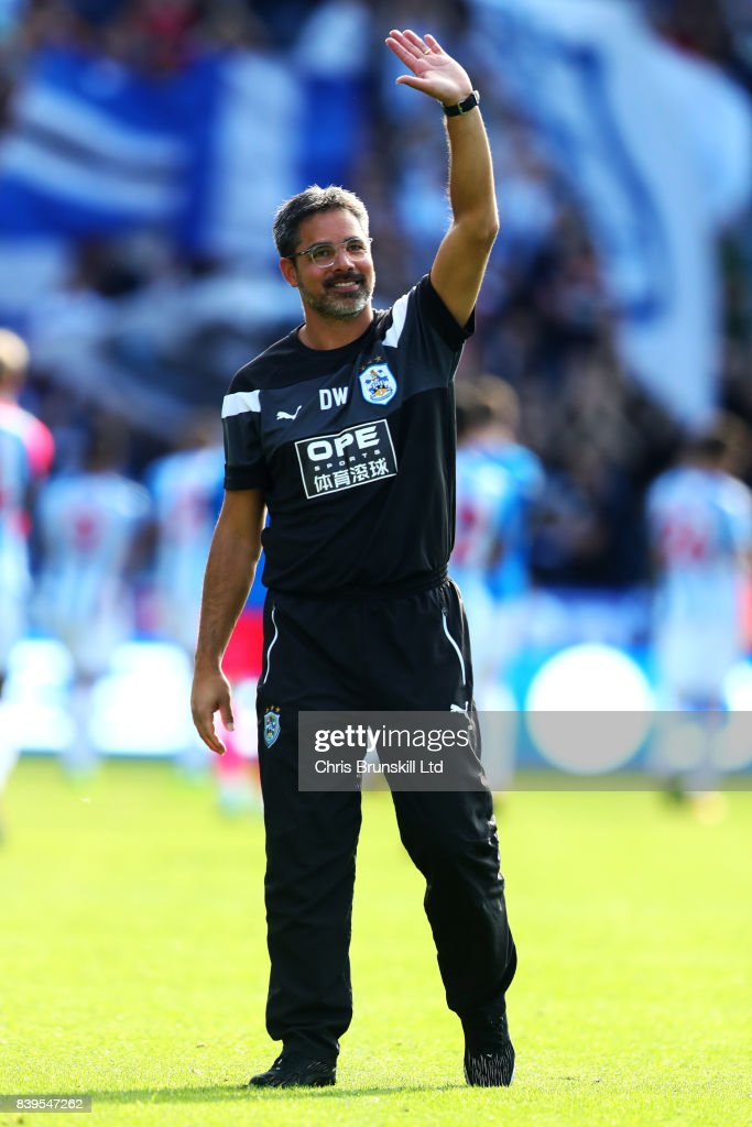 Huddersfield Town manager David Wagner waves to the fans following the Premier League match between Huddersfield Town and Southampton at the John Smith's Stadium on August 26, 2017 in Huddersfield, England.