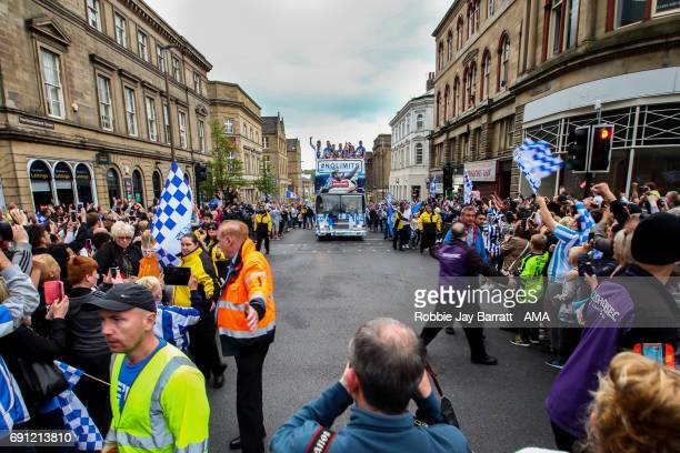 Huddersfield Town open top bus arrives at Georges Square in Huddersfield on May 30 2017 in Huddersfield England