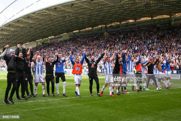 Huddersfield Town players celebrate with the fans at full time during the Premier League match between Huddersfield Town and Watford at John Smith's...