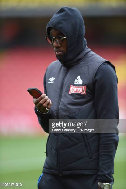 Huddersfield Town's Adama Diakhaby prior to the Premier League match at Vicarage Road Watford