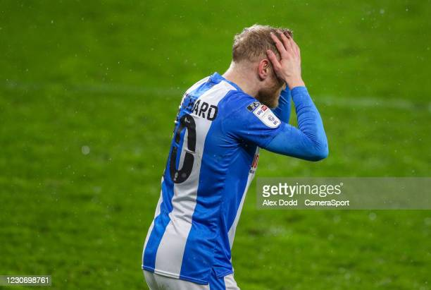Huddersfield Town's Alex Pritchard reacts after a chance goes begging during the Sky Bet Championship match between Huddersfield Town and Millwall at...