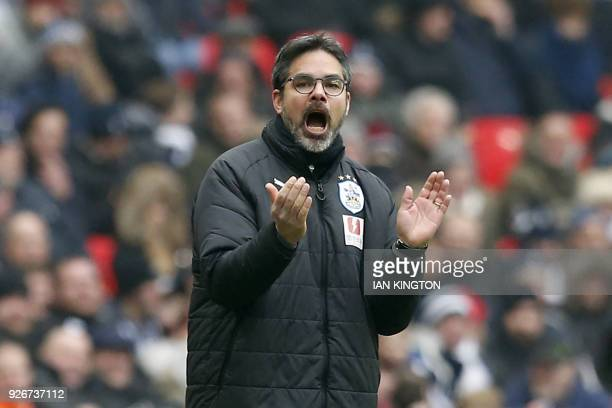 Huddersfield Town's German head coach David Wagner looks on during the English Premier League football match between Tottenham Hotspur and...