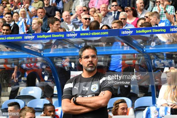 Huddersfield Town's German head coach David Wagner looks on prior to the start of the English Premier League football match between Huddersfield Town...
