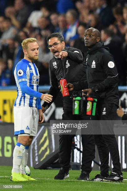 Huddersfield Town's GermanUS head coach David Wagner chats with Huddersfield Town's English midfielder Alex Pritchard during the English Premier...